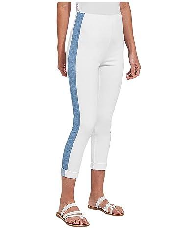 Lysse Venice Cuff Crop Leggings with Side Stripe in Knit Denim (White) Women