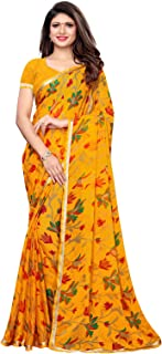 KANCHNAR Women's Red Chiffon Printed Saree with Unstitched Blouse