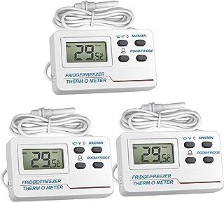 Thermomètre Frigo,Welltop 2 en 1 Congélateur Thermomètre hygrometre interieur avec sonde externe Fonction d'alarme d'affic...