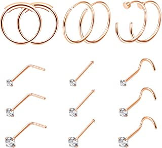 15PCS 22G Surgical Steel Nose Rings Hoop Studs Cartilage Earrings Body Piercing Jewelry 1.5mm 2mm 2.5mm CZ