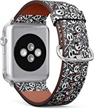 Compatible with Apple Watch 38/40mm (Small) - Replacement Accessory Leather Band Strap Bracelet Wristbands with Adapters (Made Skulls Bones)
