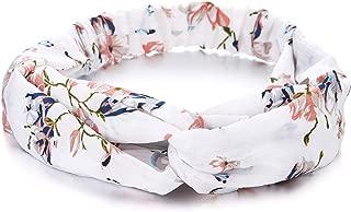 Boho Gypsy Hippie White Floral Flower Hair Wrap Headband Crossed Turban Stretchy Hairband