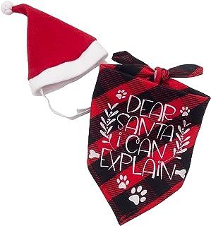 Sponsored Ad - ORTIGIA Christmas Dog Bandana with Christmas Hat Costume, Dear Santa I Can Explain Xmas Buffalo Check Plaid...