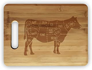 Beef Cow Meat Map Laser Engraved Bamboo Cutting Board - Wedding, Housewarming, Anniversary, Birthday, Holiday, Gift