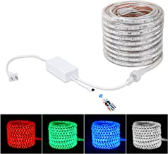 Brillihood Flexible LED RGB Rope Light Strip, Multi Color Changing SMD 5050 LEDs, 110-120V AC, Dimmable, Waterproof, Indoor/Outdoor Rope Lighting + Remote Controller - (20m/65.6ft)