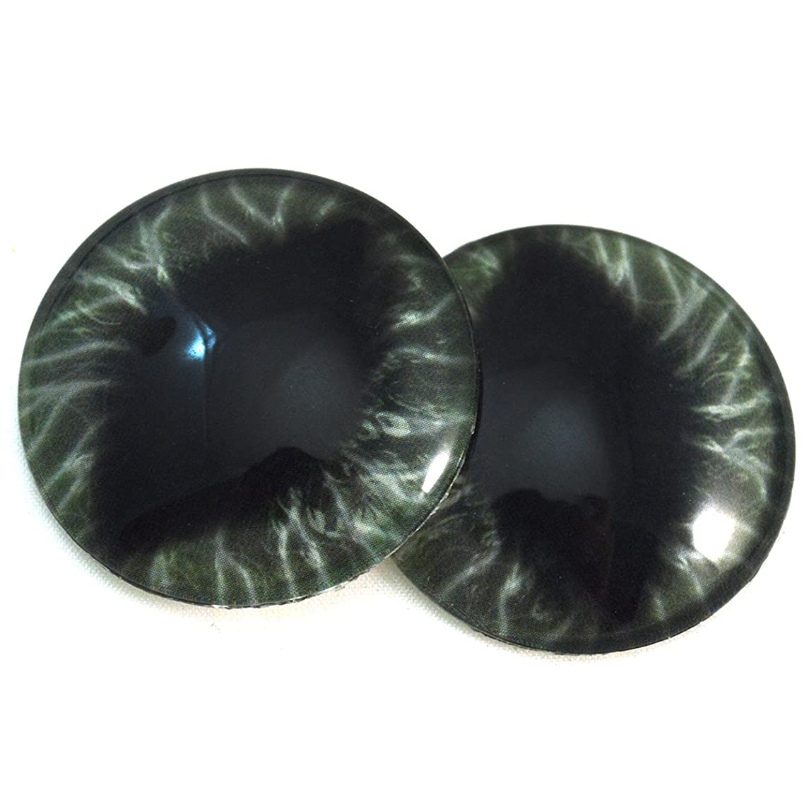 40mm Dark Green Dragon Glass Eyes Fantasy Cabochons for Art Doll Taxidermy Sculptures or Jewelry Making Set of 2