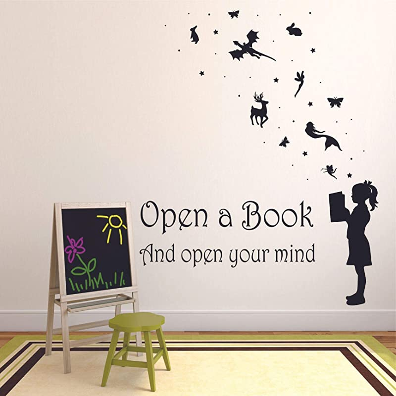 Reading Books Motivation Quotes Wall Sticker Vinyl Decal For Girls Boys Kids Library Bedroom Nursery Daycare Kindergarten Story Fun Home Decor Sticker Wall Art Vinyl Decoration Size 30x25 Inch