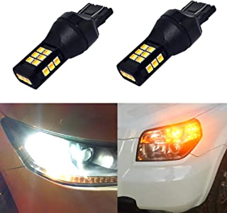 Alla Lighting 7443 LED Switchback Bulbs Dua7444NA T20 LED Switchback Xtremely Super Bright Dual Color White Yellow (Amber) High Power 3035-SMD LED Bulbs for Replacing Turn signal Light Lamps (7443)