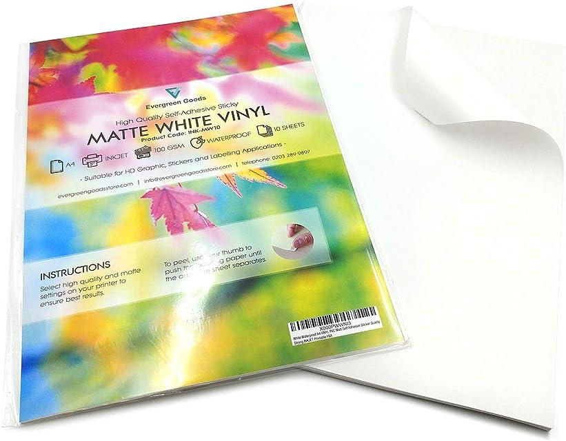 Vinilos adhesivos imprimibles en formato A4 resistentes al agua y adecuados para impresoras láser (20 láminas).