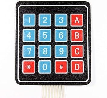Paradisetronic.com Teclado de Membrana, Matriz de 4x4, 16 Botones, Teclado de Membrana de 3.3V 5V para, p. Ej. Arduino, Raspberry Pi