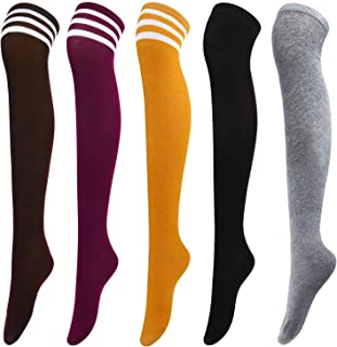Aneco 5 Pairs Over Knee Socks Knee-High Socks High Thigh Boot Stockings Women Knee Highs Socks for Girl Cosplay, Daily Wear