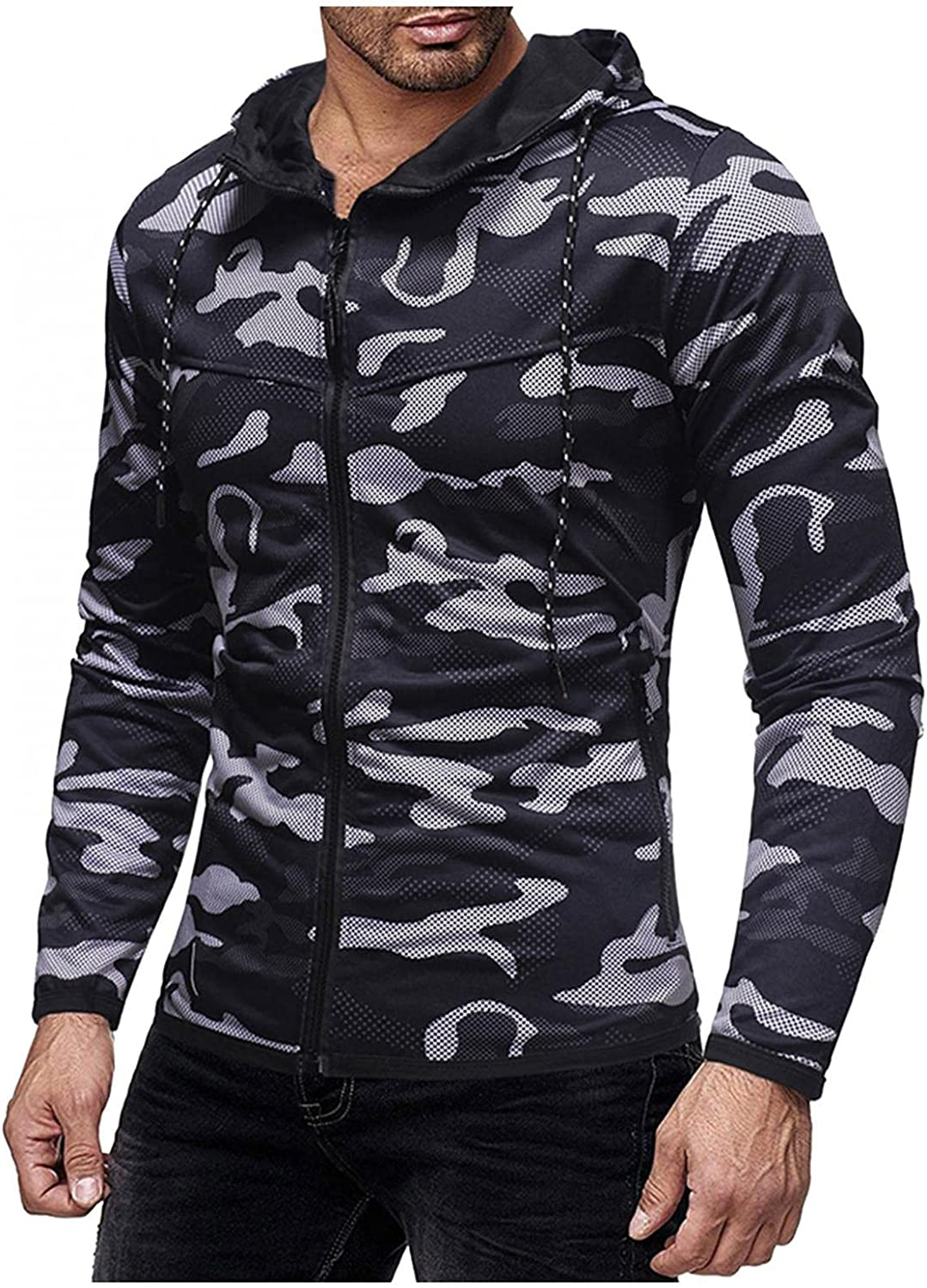 Aayomet Hoodies Sweatshirts for Men Camouflage Tops Long Sleeve Workout Athletic Hooded Pullover Blouses Sweaters Coat