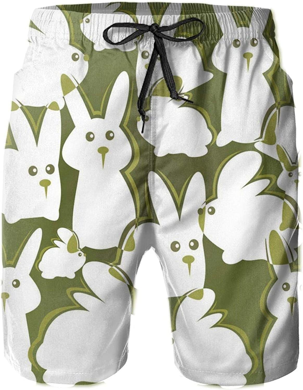 Funny Cartoon White Rabbits On Green Backdrop Easter Animal Illustration Drawstring Waist Beach Shorts for Men Swim Trucks Board Shorts with Mesh Lining,XXL