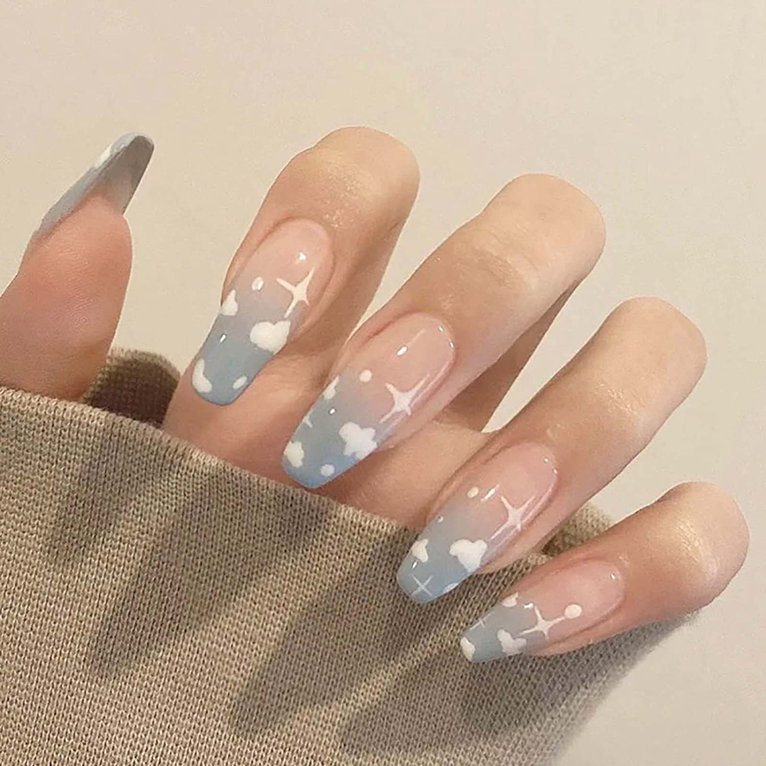 Florry Coffin safety Long Very popular Ballerina Fake Nails Press on Star Cloud Blue