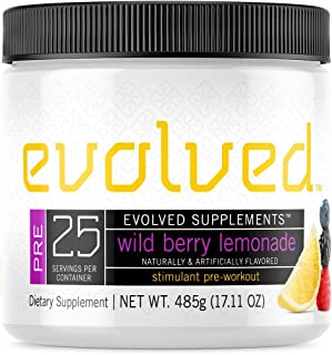 Evolved Supplements Stimulant Preworkout, 25 Servings, Wild Berry Lemonade, 3 Stage Caffeine Release, Pump, Focus, Enduran...