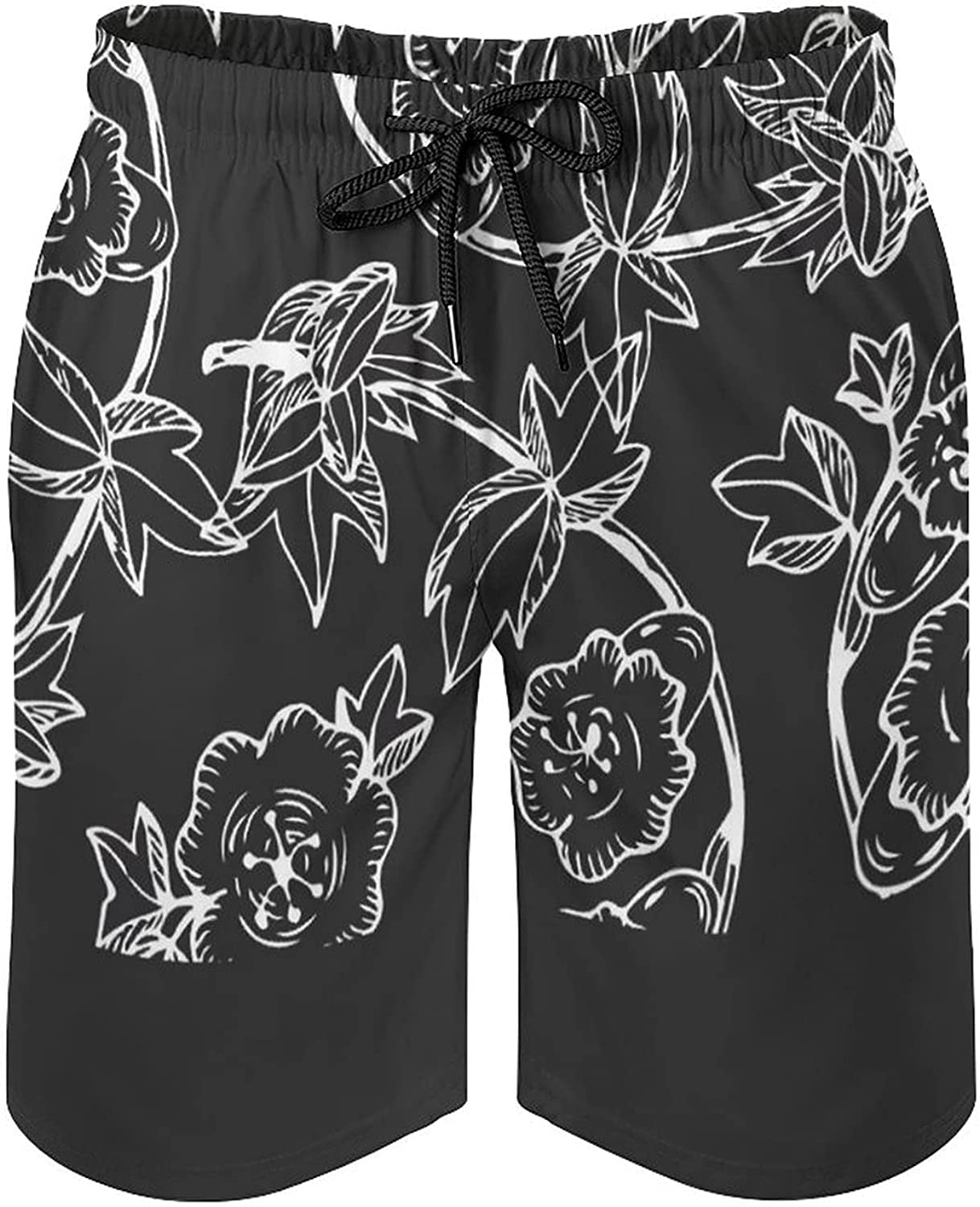 by Unbranded Men's Summer Seaside Board Shorts with Pockets Black and White Pattern