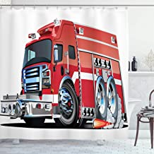 Ambesonne Cars Decor Shower Curtain Set, Big Fire Truck with Emergency Equipments Universal Safety Rescue Team Engine Cart...