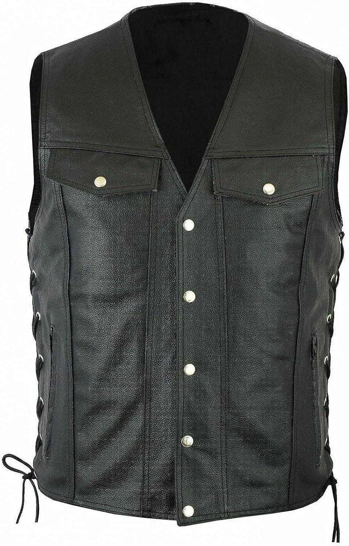 Men's Retro Vintage V-neck Solid Color Pocket Sleeveless Lace-up Button Leather Vest Top Blouse