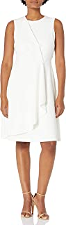 Calvin Klein Women's Sleeveless Dress with Side Pleated Ruffle
