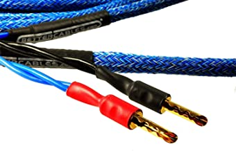 Better Cables (Pair-2 Cables for 2 Speakers) Blue Truth II Reference Speaker Cables - High-End, High-Performance, Premium Hi-Fi Audio with Gold Plated Banana Plugs - 10 Feet