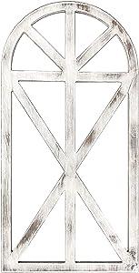 1 Pcs Antique Design Rustic Wood Window Frame for Wall Decor,31''*16''*1.2''Arch Window Frame,Cottage Decor,Wall Decor,Farmhouse Wall Art Home Decoration (White)