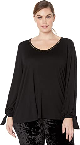 Plus Size Studded Tie-Sleeve Top