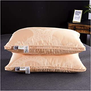 Almohadas De Plumas 2pcs 42 48 * 74cm del Satén De Seda De La Almohadilla Suave Blanco/Oro/Gris Ganso Relleno Cuello Almohada Cómoda For Dormir (Color : Pillow 3, Size : 2pcs Pillows 48x74CM)