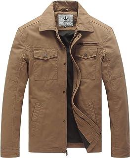 WenVen Men's Canvas Cotton Military Lapel Jacket