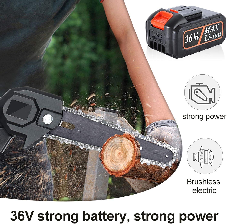 und Gartenschnitt Mini-Kettens/äge 6-Zoll-tragbare 36-V-Akku-Kettens/äge mit 2 Batterien und 2 Ketten1 Ladeger/ät 1 Paar Schutzhandschuhe f/ür Baum Black-36V