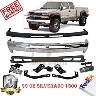 Front Bumper Kit For 1999-2004 Chevy Silverado 1500 W/Fog Light & Bumper Bracket Up&Low Covers Set of 8 GM1051103, GM1092167, GM2593113, GM2592113, GM1066129, GM1067129, GM1003127