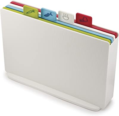 Joseph Joseph Index Set of 4 Colour-Coded Chopping Boards, Regular- White