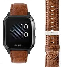 Compatible for Garmin Venu Sq Band, Youkei Crazy Leather Strap Replacement Band Straps for Garmin Venu Sq Smartwatch (Brown)