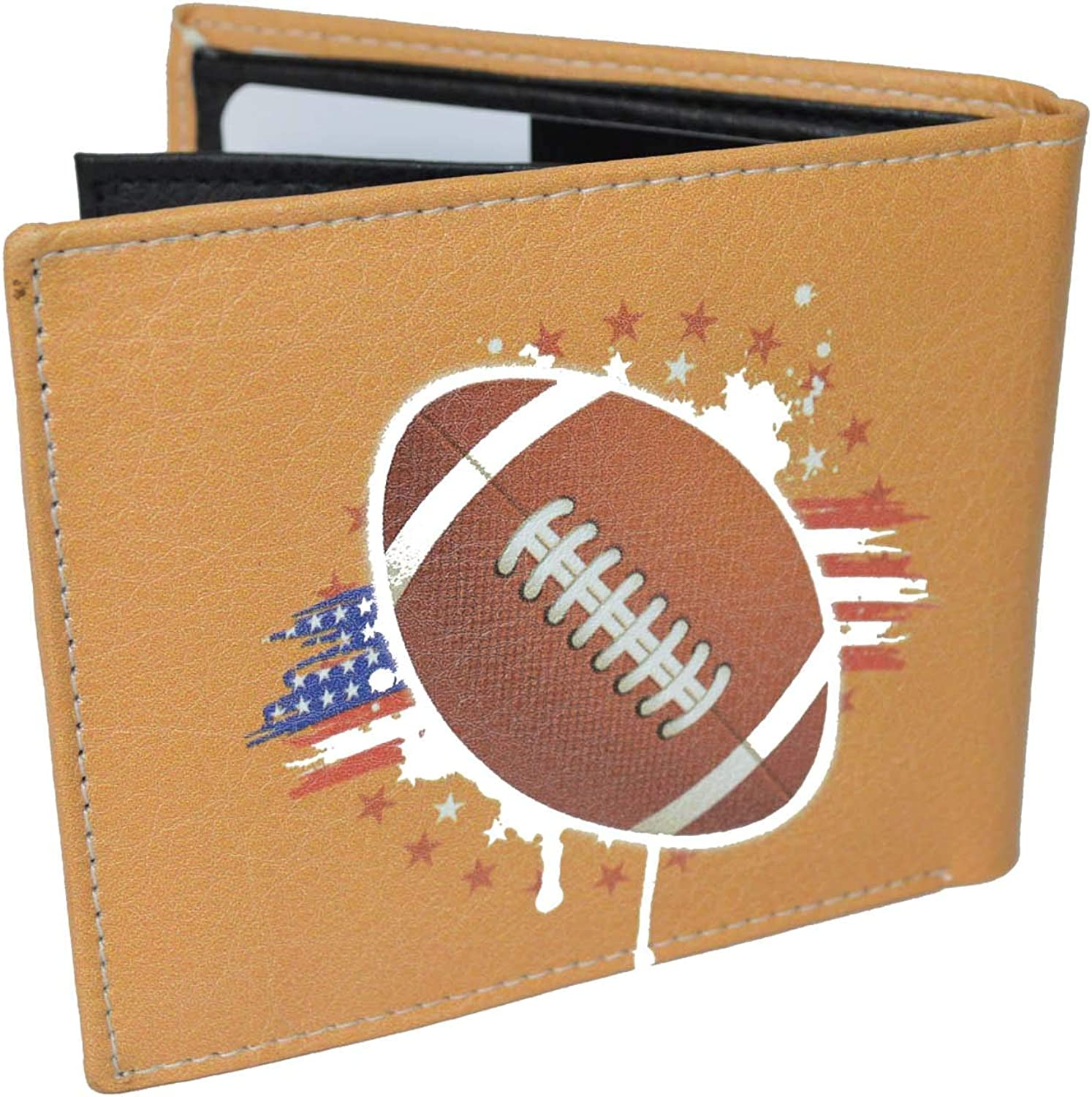 Leatherboss Printed American Football Sports theme Bifold Credit Card Cash Holder Wallet with Gift box for men