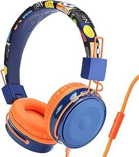 3APLUS B2 子供用ヘッドホン マイク付き 子供用イヤホン ヘッドフォン 子供向け 85dB 音量制限 聴覚保護 有線ヘッドホン 3.5mm 高音質 肌に優しい キッズ専用 オレンジ