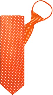 "Jacob Alexander Polka Dot Print Boys 14"" Polka Dotted Zipper Tie - Orange"