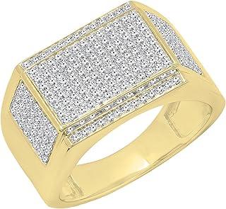 0.80 Carat (ctw) 10K Gold Round White Diamond Men's Flashy Hip Hop Pinky Ring