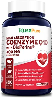 CoQ10 400 mg 200 Veggie Caps (Non-GMO & Gluten-Free) Coenzyme Q10 Supplement, Antioxidant COQ-10 Enzyme, Coq 10 for Suppor...
