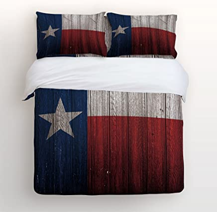 EZON-CH Duvet Cover Set Texas Flag Wood Board Print 100% Brushed Cotton Soft 4 Piece Duvet Cover Set Duvet Cover Flat sheet Pillow Cases Bed Sheet Set(Twin)