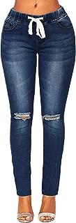 Women's Elastic Waist Skinny Stretch Ripped Distressed Denim Jeans Pants