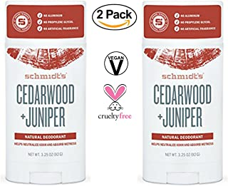 Schmidt's - Deodorant Stick Cedarwood + Juniper, 3.25 oz (Pack of 2) - Free of Aluminum,Vegan, Natural and Cruelty - Free