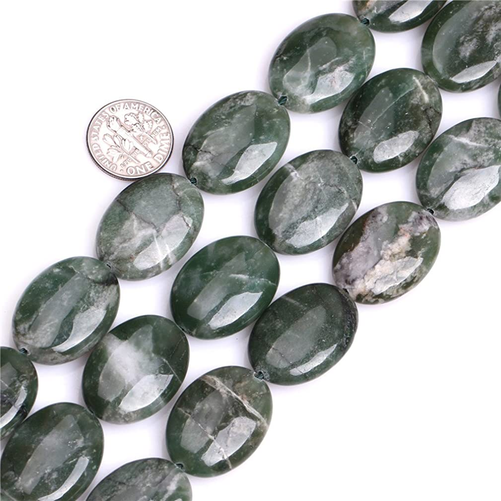 GEM-inside 18x25mm Oval Natural Green African Jade Stone Gemstone Semi Precious Beads for Jewelry Making 15