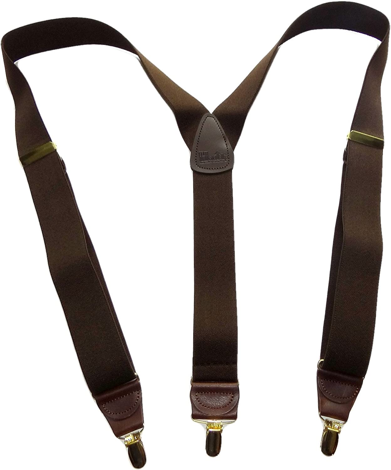HoldUp USA made Java Brown Casual Series suspenders Y-back brown leather crosspatch and Patented No-slip Gold-tone Clips