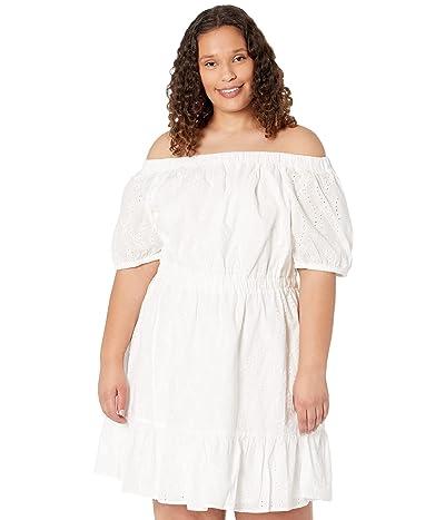 MICHAEL Michael Kors Plus Size Flare Eyelet Off Shoulder Dress
