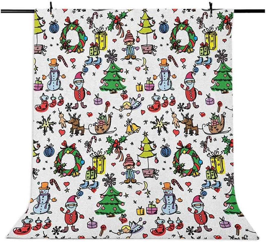 8x12 FT Doodle Vinyl Photography Backdrop,Christmas Concepts Drawn in Cartoon Style Santa Snowman Children Presents Mistletoe Background for Photo Backdrop Baby Newborn Photo Studio Props