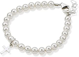 Crystal Dream Baptism White Swarovksi Simulated Pearls, Sterling Silver Cross Charm Christening Newborn Baby Girl, Boy, Unisex Bracelet (BPW-C)
