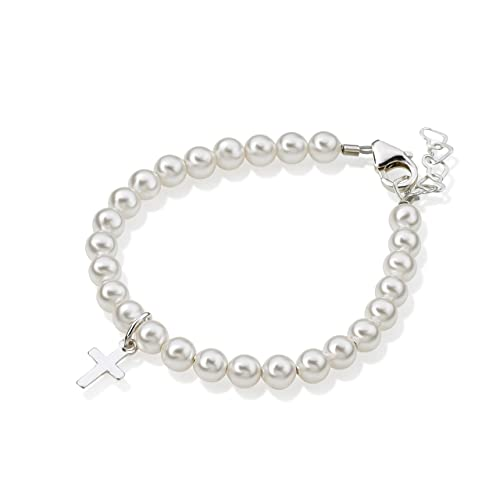 with Swarovski Simulated Pearls and Crystals Best Baptism and Christening Gift Sterling Silver Cross Charm Bracelet for Kids BCRSS