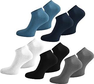 15 Pares de Calcetines Zapatillas de algodón con Elastano para él y Ella – Tamaños 35 – 50 – Muchos Colores, Marine/Jeans/Grau/Weiß/Schwarz, 43/47