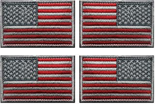 Antrix 4 Pcs Red Silver Regular and Reversed American US USA Flag Embroidered Patch Tactical Military United States of America Uniform Emblem Applique Iron On Sew On Morale Patch for Backpacks Cap Hat