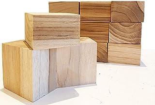 【送料無料】DIY 木材 チーク系ブロック材 12ピース 角材 無垢材 積み木 ブロック ディスプレイ カード立て インテリア 6㎝×6㎝×4㎝【ワールドデコズ】