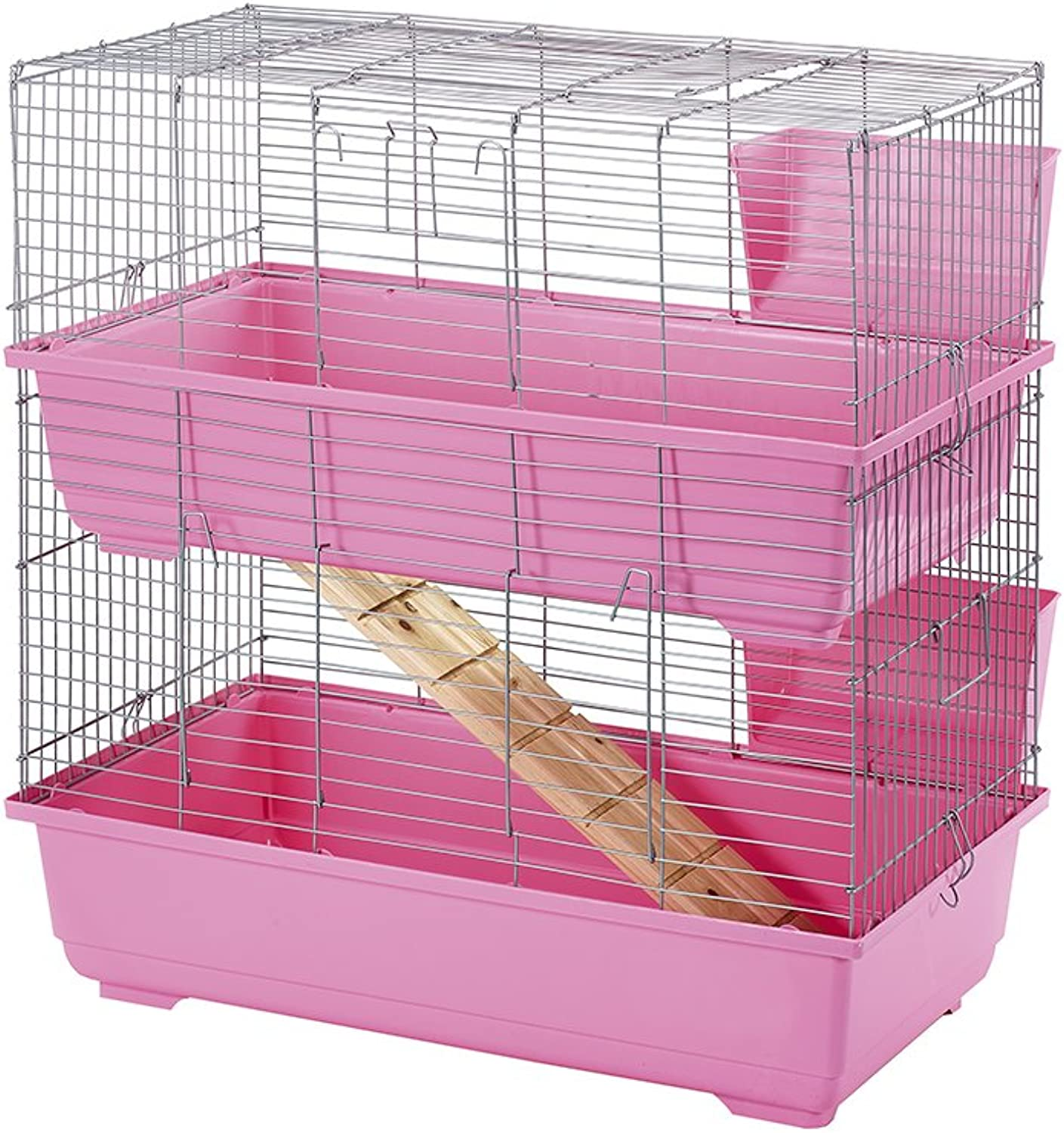 Little Friends Double Tier Rabbit Cage, 80 cm, Pink